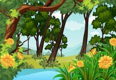 Skogplats med träd och dammet stock illustrationer