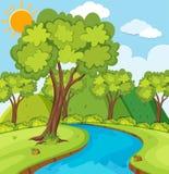Skogplats med träd och floden stock illustrationer