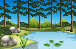 Skogplats med träd och floden vektor illustrationer