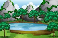 Skogplats med träd runt om dammet Royaltyfri Fotografi