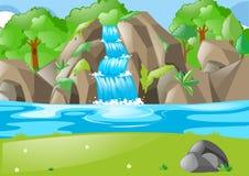Skogplats med vattenfallet och fältet royaltyfri illustrationer