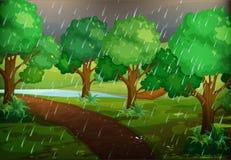 Skogplats på regnig dag vektor illustrationer