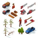 Skogsarbetare Isometric Icons Set royaltyfri illustrationer