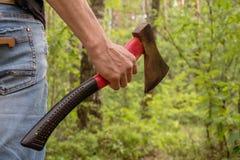 Skogsarbetare som rymmer en yxa, olagligt logga, miljö- problem royaltyfri fotografi