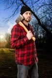 Skogsarbetare Woodsman At Sunrise royaltyfri bild