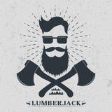 Skogsarbetareetikett, logo, illustration för t-skjorta designvektor Royaltyfria Foton