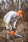 Skogsarbetaren använder hans chainsaw klippte trädet Royaltyfria Bilder