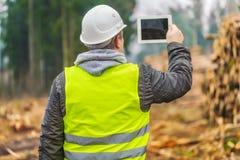 Skogsarbetaren filmade högar av journaler med minnestavlaPC i skog Arkivfoton