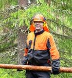 Skogsarbetaren Worker bär och att släpa journalen av speciala krokar royaltyfria foton