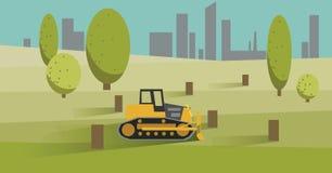 Skogsavverkning med den gula bulldozern också vektor för coreldrawillustration stock illustrationer