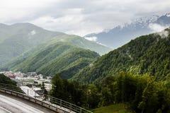 Skogsbevuxna berg i det regniga vädret i Sochi Royaltyfri Bild