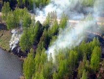Skogsbränder på floden på våren Royaltyfri Bild