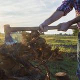 Skogshuggare på arbete Arkivbilder