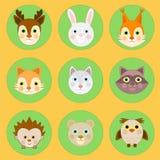 Skogsmarkdjuruppsättning, skogdjursymboler Royaltyfri Bild