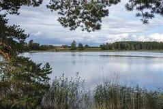 Skogssjon, Mjolby, Suécia foto de stock