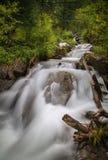 Skogströmmen som över kör, vaggar, en liten vattenfall Royaltyfri Foto