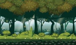 Skogträn, silhouttes, träd med buskar, ormbunkar och blommor för felik skog ljusa För designlek apps, websites stock illustrationer
