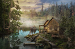 Skogvaktares kabin Royaltyfria Bilder