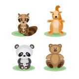 Skogvektoruppsättningen av roliga djur uthärdar, gömma sig, tvättbjörnen och pandan Royaltyfri Foto