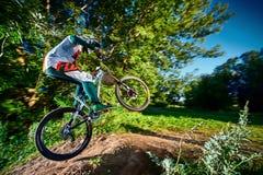 Skok i komarnica na rowerze górskim Zdjęcia Stock