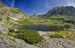 Skok Lake. Photographs of mountains lake Skok in the High Tatras in the Slovak Republic Royalty Free Stock Photo