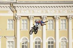 Skok na motocyklu Zdjęcie Royalty Free