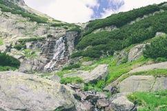 Skok vattenfall i höga Tatras Fotografering för Bildbyråer