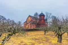 Skokloster Sverige - April 1, 2017: Skokloster kyrka, Sverige arkivbilder