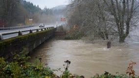 Skokomish flodfloder från hällregn royaltyfri foto