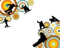 Skokowa Snowboarder sylwetka Obrazy Royalty Free