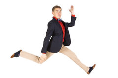 Skokowego mężczyzna szczęśliwy z podnieceniem Zdjęcie Royalty Free