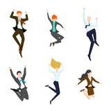 Skokowi ludzie biznesu w powietrzu Szczęśliwy i Obraz Stock