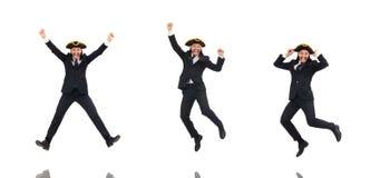 Skokowy biznesmen jest ubranym tricorn odosobnionego na bielu fotografia royalty free