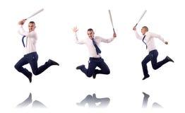 Skokowy biznesmen z kijem bejsbolowym Obraz Royalty Free