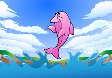Skokowy różowy delfin Obraz Royalty Free