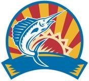 skokowy retro sailfish sunburst woodcut ilustracja wektor