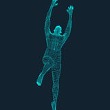 Skoku mężczyzna Poligonalny projekt 3D model mężczyzna geometryczny wzór Biznes, nauka i technika wektoru ilustracja Zdjęcia Royalty Free