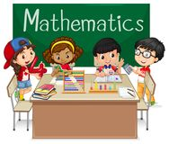 Skolämne för matematik med ungar i grupp stock illustrationer
