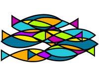 Skola av fiskkonst stock illustrationer