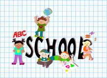 Skola barn för gruppen (för ord) olika Arkivbilder