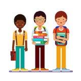 Skola- eller högskolapojketonåringar med bu vektor illustrationer