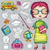 skola för 2 färgrik symboler stock illustrationer