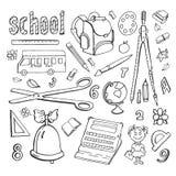 Skola för samling för vektorklotterteckningar Arkivfoto