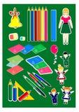 Skola fastställda lyckliga barn, läraren, färgade blyertspennor, nätt roligt lyckligt, skolaklockan, ballonger, blommor, stock illustrationer