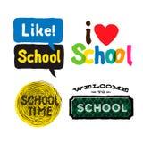 Skola fastställda symboler royaltyfri illustrationer