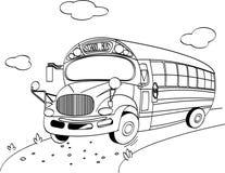 skola för bussfärgläggningsida Royaltyfri Fotografi