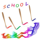 Skola målarfärg, målare, regnbåge, färg, palett Royaltyfria Bilder