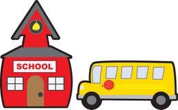 Skola och bussa isolerat royaltyfri illustrationer
