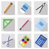 Skola och kontor färgade plana symboler stock illustrationer