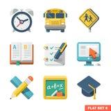 Skola och plana symboler för utbildning Arkivbild